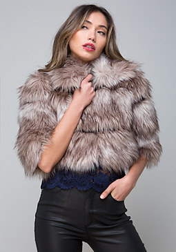 bebe Faux Fur Dinner Jacket