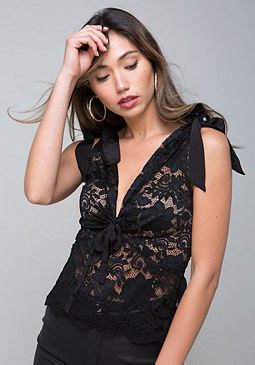 bebe Lace Double V-Neck Top