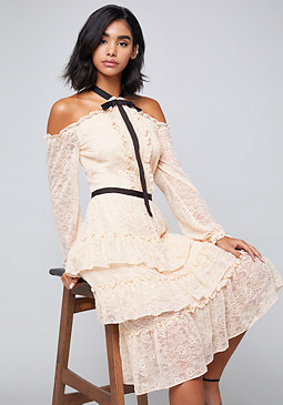 bebe Ruffled Lace Dress