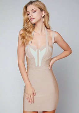 bebe McKenna Halter Dress