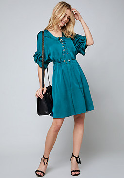 bebe Samantha Lace Up Shirtdress