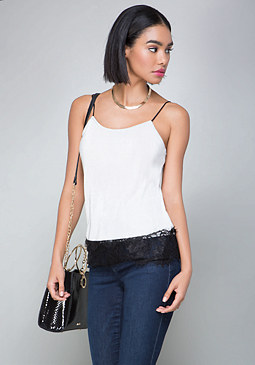 bebe Lace Trim Cami