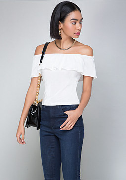 bebe Pleated Off Shoulder Top