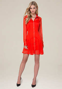 bebe Sash Tie Shirtdress
