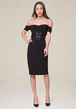bebe Cameron Off Shoulder Dress