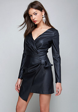 bebe Faux Leather Wrap Dress