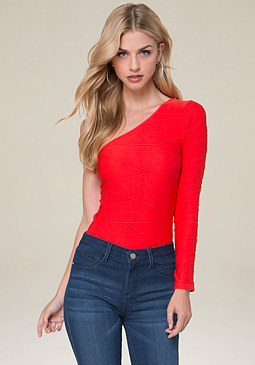 bebe One Shoulder Bodycon Top