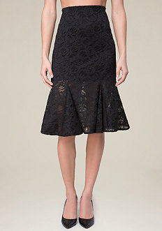 Lace Godet Midi Skirt