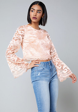 bebe Emilia Embroidered Top