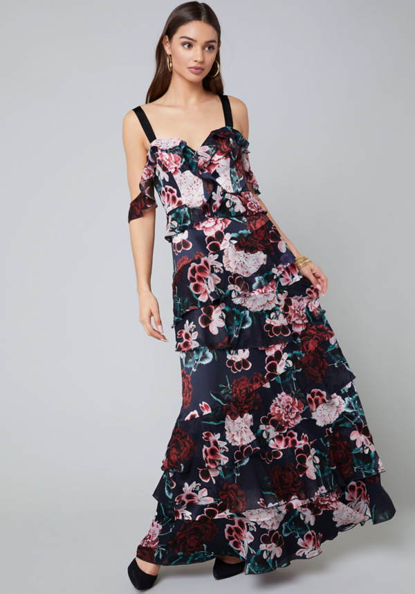 Print Tiered Gown at bebe in Sherman Oaks, CA | Tuggl