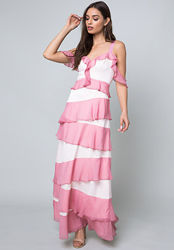 bebe Tiered Cold Shoulder Gown