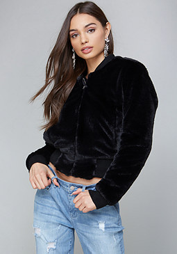 bebe Faux Fur Bomber Jacket