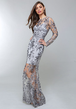bebe Embroidered Sequin Gown
