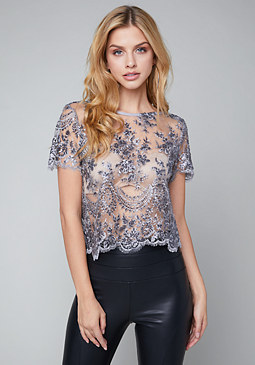 bebe Embroidered Sequin Top