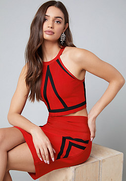 bebe Kendall Colorblock Crop Top