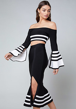bebe Taylor Bell Sleeve Crop Top