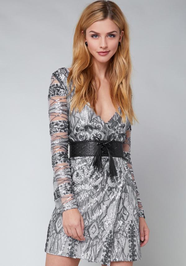 Geo Sequin Wrap Dress at bebe in Sherman Oaks, CA | Tuggl