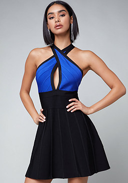 bebe Crisscross Bandage Dress