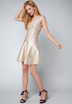 bebe Foil Flared Bandage Dress