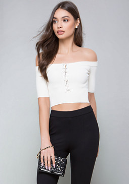 bebe Casey Hook & Eye Top