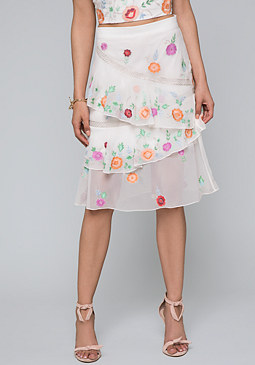 bebe Embroidered Flower Skirt