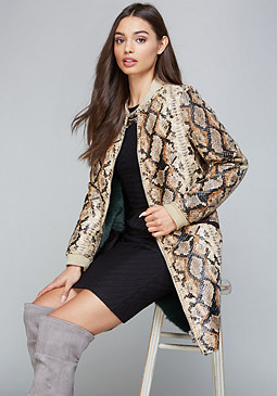 bebe Faux Snake Long Coat