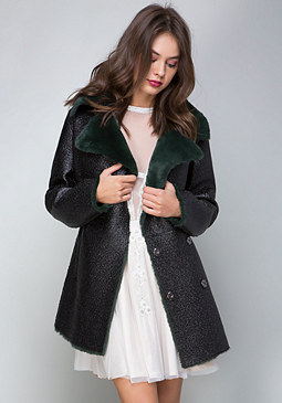 bebe Tessa Faux Fur Collar Coat