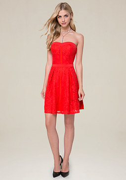bebe Lace Strapless Flared Dress