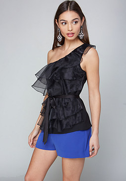 bebe Bailey Ruffle Organza Top