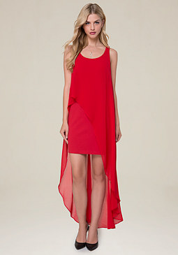 bebe Hi-Lo Overlay Dress