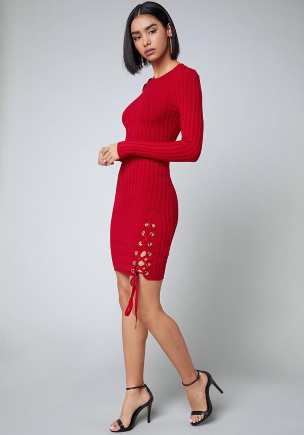 Lace Up Detail Dress at bebe in Sherman Oaks, CA | Tuggl