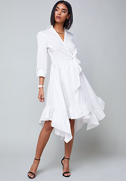 bebe Cotton Wrap Shirtdress