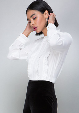 bebe Pleat & Ruffle Blouse
