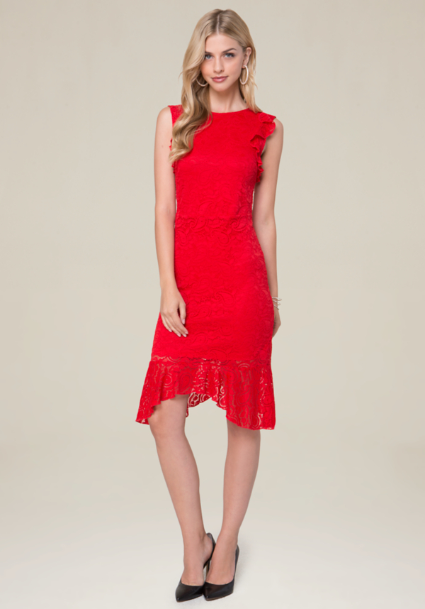 Lace Ruffle Hi-Lo Dress at bebe in Sherman Oaks, CA | Tuggl
