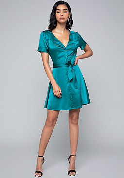 bebe Charmeuse Shirtdress