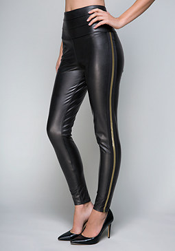 bebe Metallic Stripe Leggings