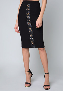 bebe Ponte Chain Lace Up Skirt