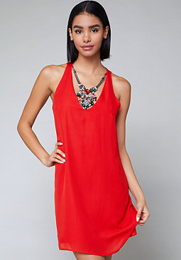 bebe Necklace Shift Dress