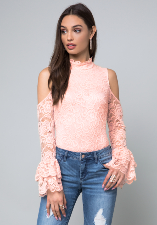 Lace Cold Shoulder Top at bebe in Sherman Oaks, CA | Tuggl