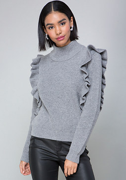 bebe Ruffled Turtleneck Sweater
