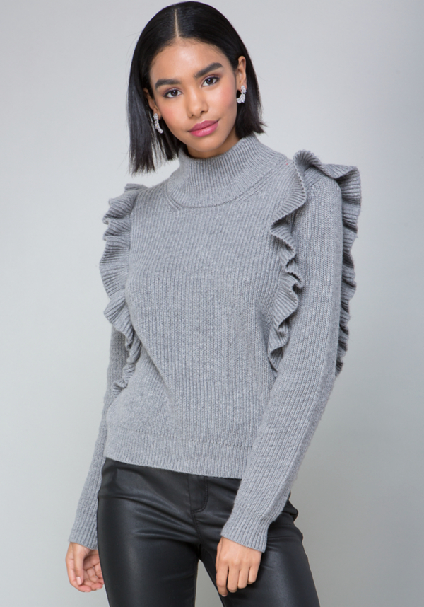 Ruffled Turtleneck Sweater at bebe in Glendale, CA | Tuggl