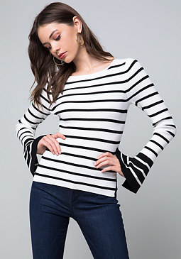 bebe Becca Striped Sweater