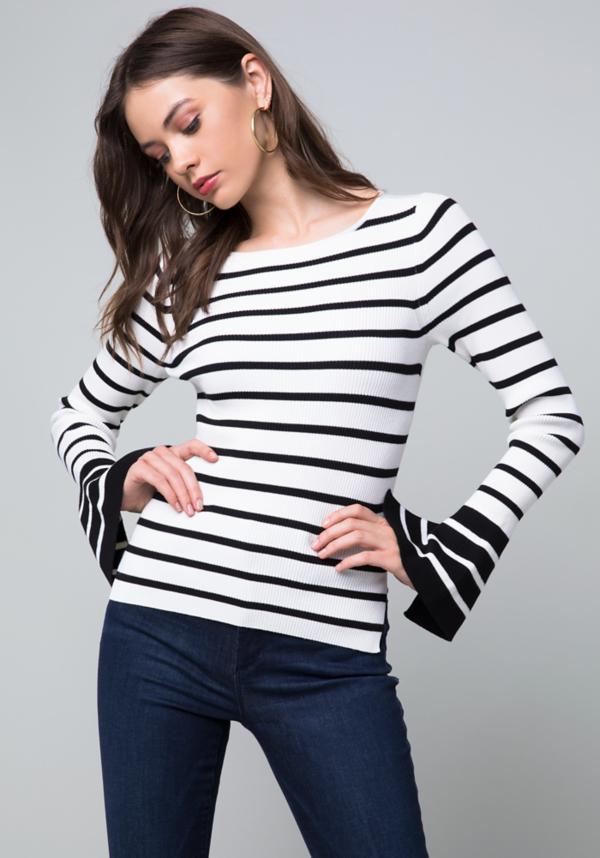 Becca Striped Sweater at bebe in Sherman Oaks, CA | Tuggl