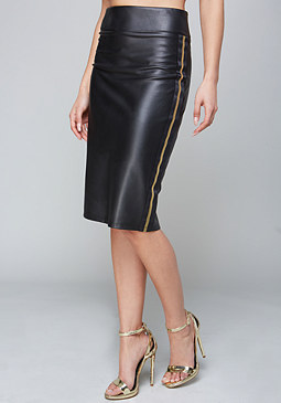 bebe Stripe Faux Leather Skirt