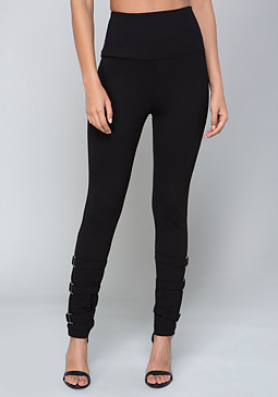 bebe Buckle Leg Leggings