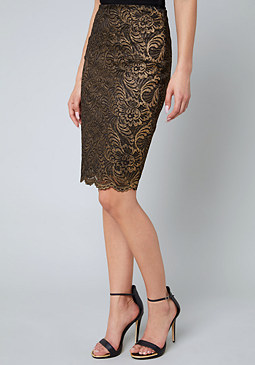 bebe Gold Foil Lace Skirt