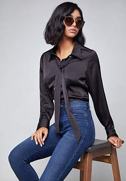 bebe Cameo Bow Blouse