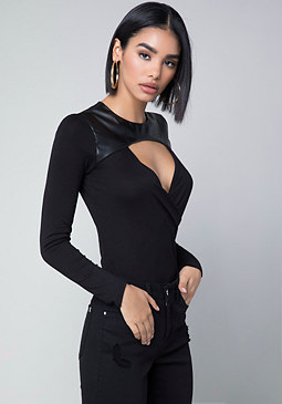bebe Faux Leather Trim Top