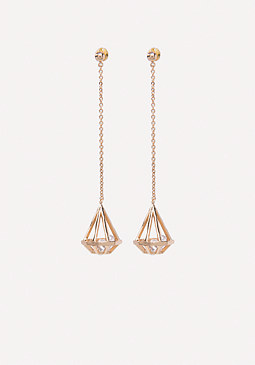 bebe Geo Crystal Drop Earrings