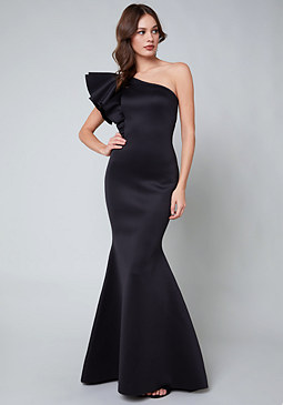 bebe Ruffled One Shoulder Gown